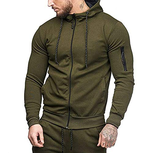 (iYYVV Fashion Mens Sport Casual Full Zipper Long Sleeve Hoodies Pullover Tops Blouse Army Green)