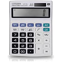 Everplus Calculator, Everplus Electronic Desktop Calculator with 12 Digit Large Display, Solar Battery LCD Display Office Calculator, White