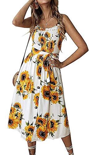 (Womens Summer Boho Beach Midi Dress Casual Vintage Floral Swing Sundress White Sunflower)