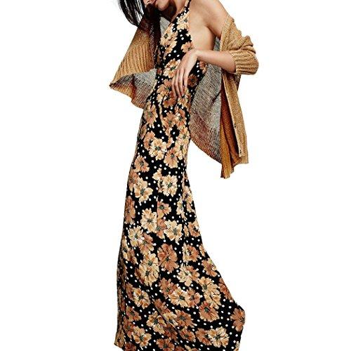 ZEARO Damen Maxikleid Sommerkleid Blumen lange Kleider Gelb p15hagC ...