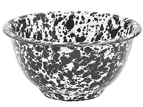 Crow Canyon - Enamelware Small Footed Bowl - Black Marble