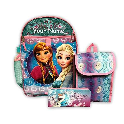 Disney Personalized Books - Personalized Disney Frozen Elsa and Anna Backpack Book Bag and Lunch Bag 5 Piece Set with Water Bottle for Back to School
