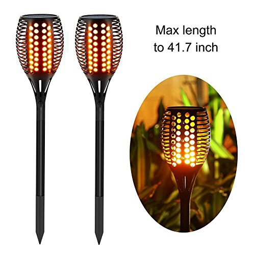 Balight Solar Torch Lights,Dancing Flame Lighting 96 LED Flickering Tiki Torches Waterproof Wireless Outdoor Light for Patio Garden Path Yard Wedding Party(2 Pack)