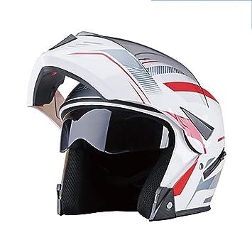 YXDDG Casco de Moto Abatibles de Doble Viseras Casco de Cara Completa,Bufanda de Cuello