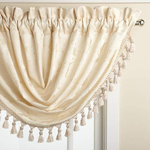 LORRAINE HOME FASHIONS Floral Lustre 48-inch x 37-inch Waterfall Valance, Ivory