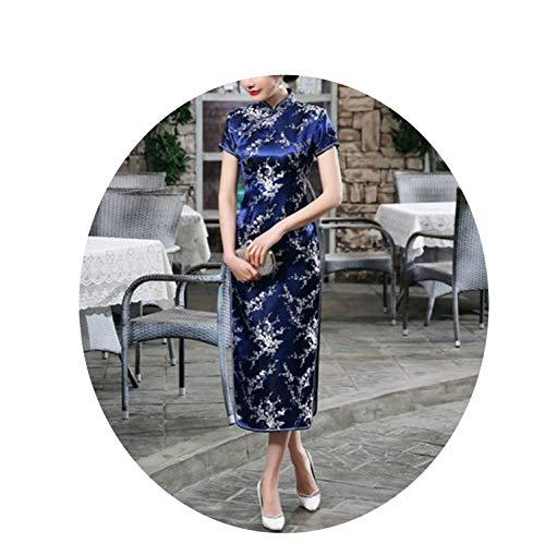 果てしない改革隠黒の赤い中国の伝統的なドレス女性の夏の半袖ロングドレスフラワーS M L XL XXL,紺,M