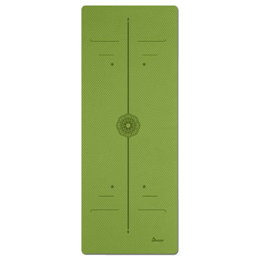 Cassiel Y - Tappetino da Yoga per Pilates, 0,8 cm, in TPE Ecologico, Antiscivolo, Lunghezza 183 cm, Larghezza 61 cm, verde