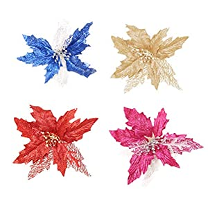 Toyvian 4PCS Artificial Glitter Flowers Fake Poinsettia Flower Christmas Wedding Party Decoration (Red Golden Rosy Blue) 12