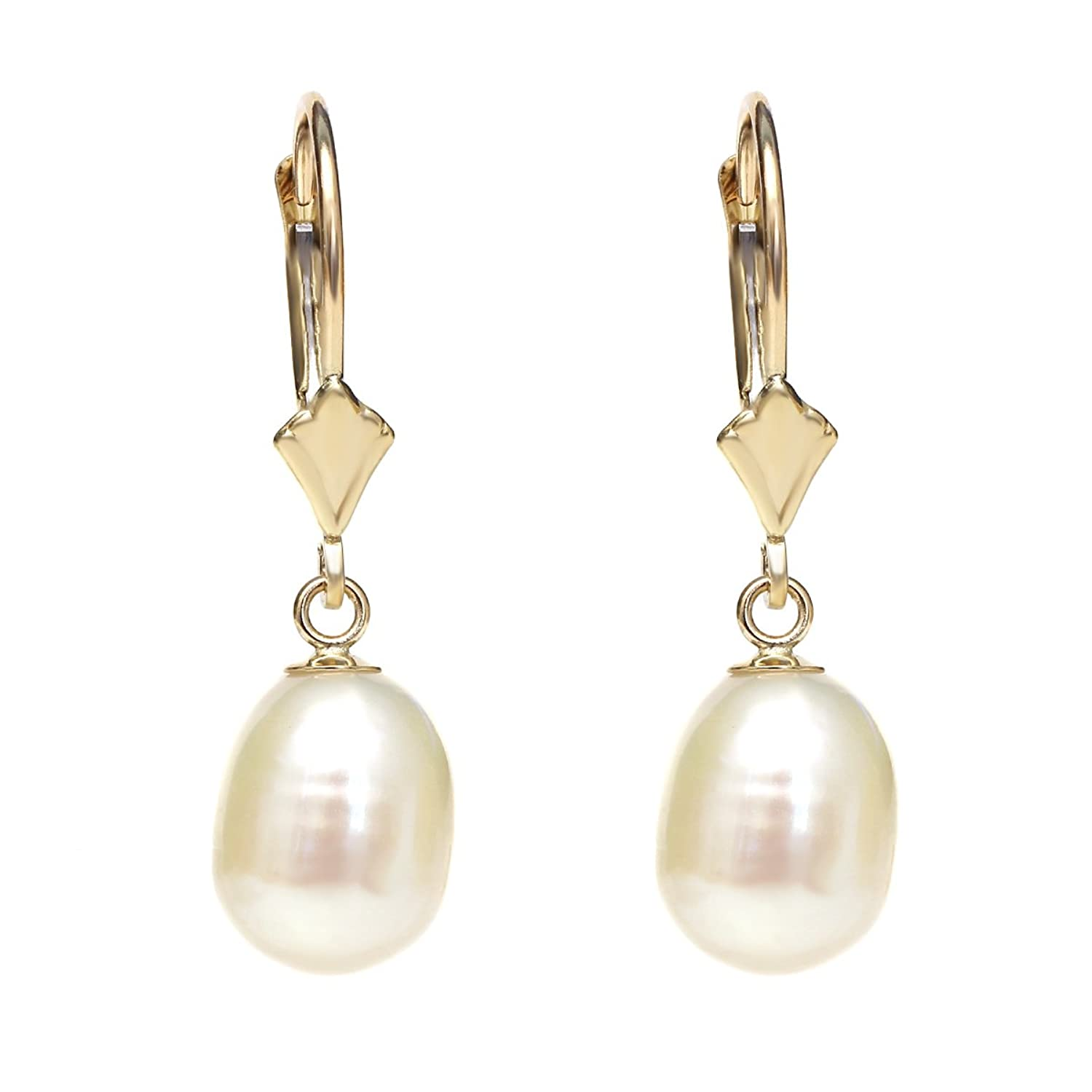 14K Yellow Gold Exceptional 8mm x 9mm Oval Cultured Freshwater Pearl Earrings