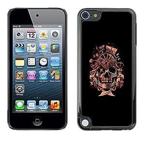 EJOY---Cubierta de la caja de protección la piel dura para el ** Apple iPod Touch 5 ** --Bandera pirata del cráneo de