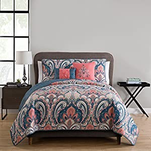 King Quilt Set : Bohemian Paisley Design , Lightweight Luxurious Microfiber in Coral n Blue Accents ; 5 pc Set Includes Reversible Quilt , 2 Pillow Shams , 2 Decorative Pillows