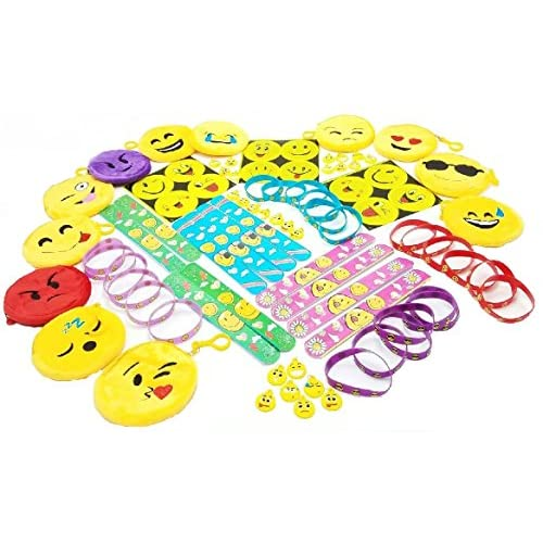 Gingerscoolstuff Emoji Theme Party Favors 85 Piece Set Of Slap Bracelets Charms Coin
