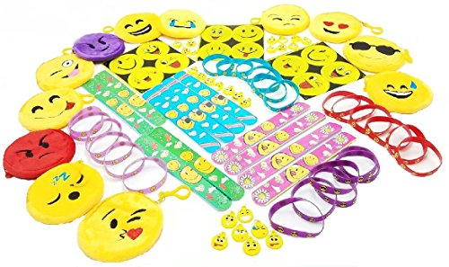 Emoji Theme Party Favors. 85 Piece Set of Slap Bracelets, Charms, Coin Purses, Stickers and Silicone Bracelets.