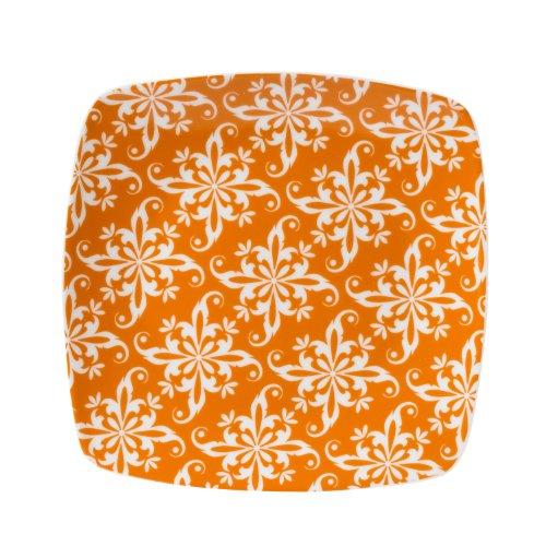 Color Collection, Soft Square Salad Plate, Orange