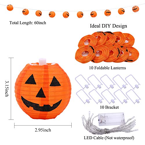 WmBetter Pumpkin String Lights Detachable Polyester Halloween Pumpkin Lanterns with 10 LED lights for Halloween Decoration by Wmbetter (Image #5)