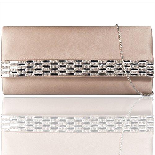 Xardi New satin diamante donne pochette da sera party borsetta da donna da sposa designer Champagne