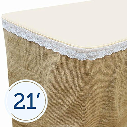 BalsaCircle 21 feet x 29-Inch Natural Brown Burlap Jute Table Skirt Linens Wedding Party Events Decorations Kitchen Dining Catering