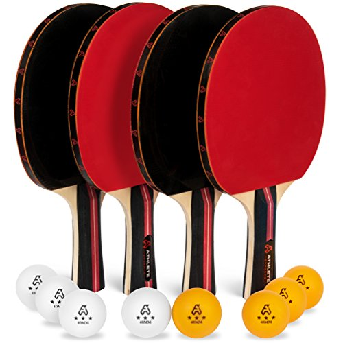Ping Pong Paddle Set of 4 - Pro Wood Ping-Pong Paddles and 8 Light Regulation Table Tennis Balls - This 4-Player Racket and Ball Kit is the Perfect Indoor Sports Game Gift for Kids or Professional ()