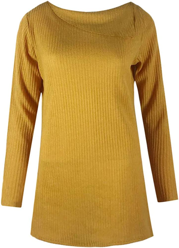 Blouses for Women,Womens Tops Autumn Winter Long SleeveSolid Strips Sweater Pullover Blouse Shirt Tops