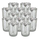 Just Artifacts Glass Votive Candle Holder 2.75''H (12pcs, Striped Silver) - Mercury Glass Votive Tealight Candle Holders for Weddings, Parties and Home Decor