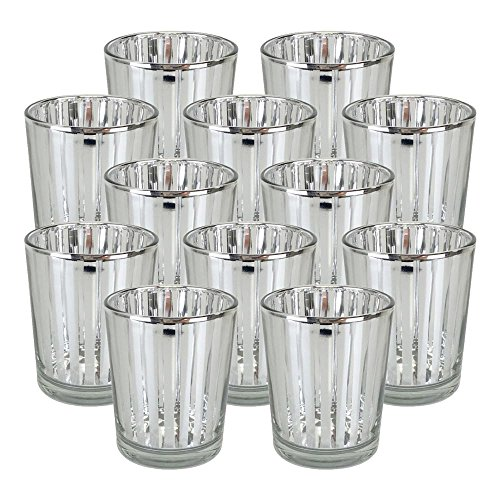 Just Artifacts Glass Votive Candle Holder 2.75''H (12pcs, Striped Silver) - Mercury Glass Votive Tealight Candle Holders for Weddings, Parties and Home Decor by Just Artifacts
