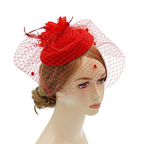 (Wheebo Fascinator Hat Flower Feather Mesh Net Veil Party Wedding Headband for Women Girls (B-red))