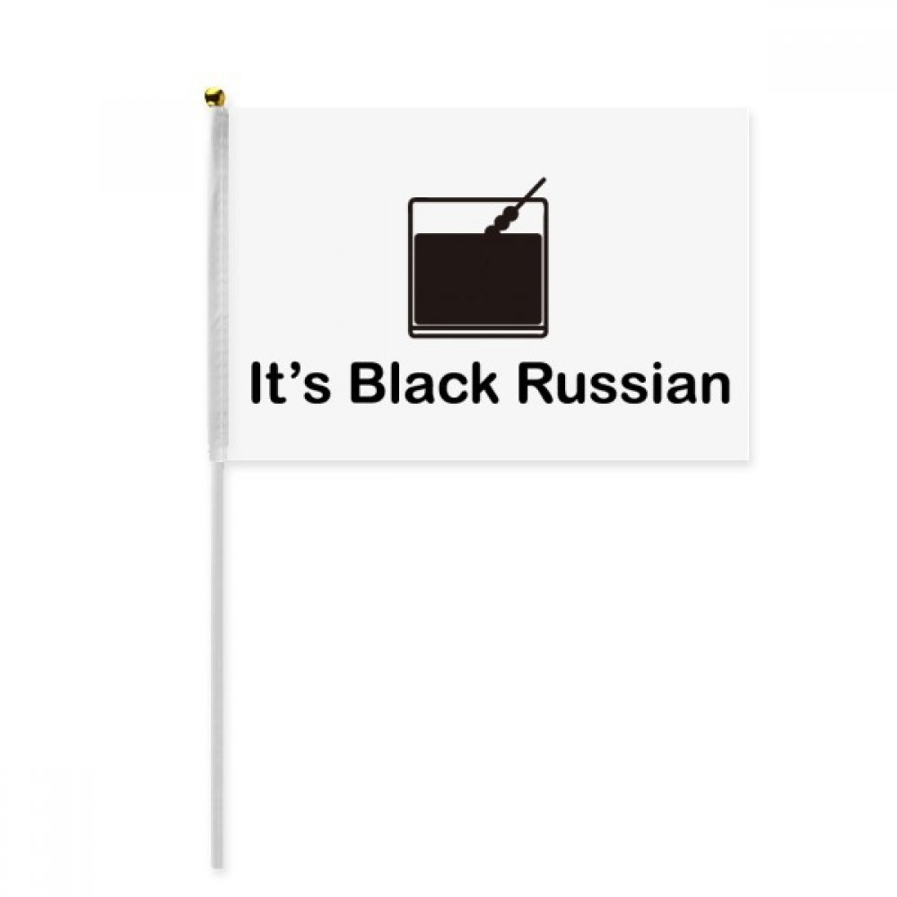 Black Russian Cocktail Hand Waving Flag 8x5 inch Polyester Sport Event Procession Parade 4pcs