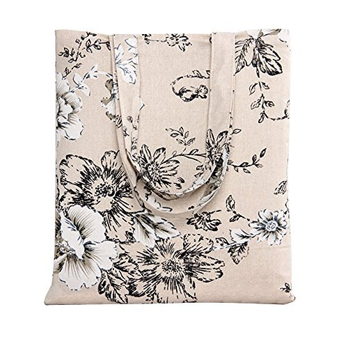 Fully Tote Lined Pocket Two (Caixia Women's Cotton Daisy Floral Canvas Tote Shopping Bag Light Brown (Black-Open))
