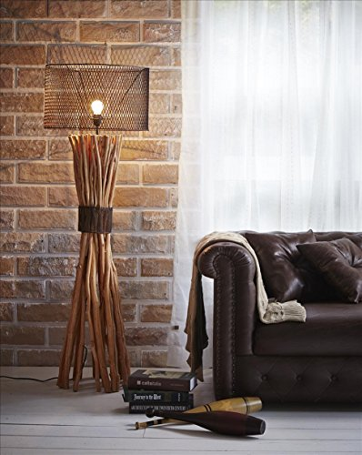 O'THENTIQUE 58 Inches Large Natural Longan Branches Bunched Elementaire Design Standing Floor Lamp Rusty Metal Round Shade Handmade for Home Decor, Li…