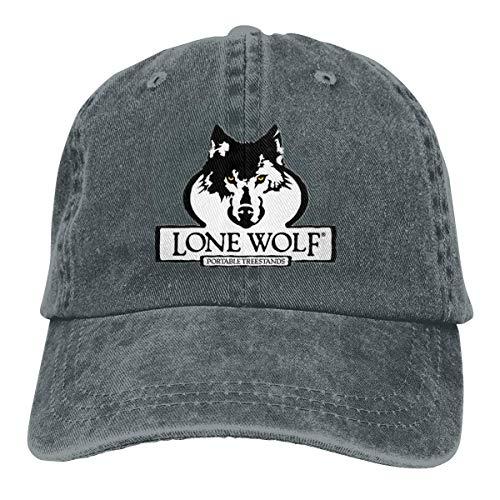 (YBHAT Lone Wolf Men's & Womens Pigment Dyed Hat Adjustable Deep Heather)
