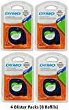 Dymo 10697 Self-Adhesive White Paper Labeling Tape for LetraTag (LT) Label Makers; 4 Blister Packs (8 Refills); Each Blister Pack with Hang Hole contains Two 1/2'' Wide x 13ft Long (12mm x 4m) Refill Rolls; Black Print on White paper tape