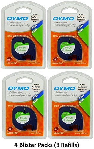 Dymo 10697 Self-Adhesive White Paper Labeling Tape for LetraTag (LT) Label Makers; 4 Blister Packs (8 Refills); Each Blister Pack with Hang Hole contains Two 1/2' Wide x 13ft Long (12mm x 4m) Refill Rolls; Black Print on White paper tape