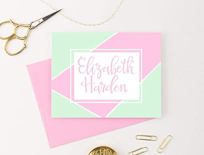 geometric style personalized stationery set personalized folded note cards stationery for girls your - Personalized Folded Note Cards