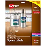 Avery Square Labels for Laser & Inkjet Printers, 2' x 2', 120 Glossy Crystal Clear Labels (22853)