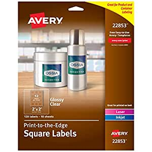 """Avery Print-to-The-Edge Glossy Clear Square Labels, 2"""" x 2"""", Pack of 120 Labels (22853)"""