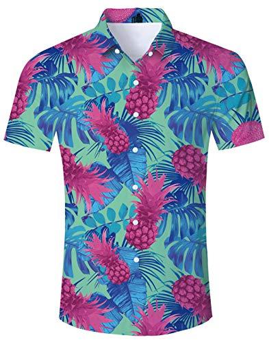 (Loveternal FlowerHawaiian HangoverShirt for Mens Aloha 3D Print Graphic Purple Pineapple Unique Mens Turquoise Tropical Shirts Short Sleeve for Vacation Blue Resort Wear XL)