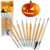 Pumpkin Carving Tools- Halloween Sculpting Kit with 11 Double Sided Pieces (21 Tool Set) for Jack-O-Lanterns and More