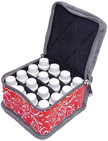 精油ケース エッセンシャルオイル収納ケース旅行キャリングケースは、16本のボトル10ミリリットル、15ミリリットルバイアル油オーガナイザーバッグを開催します 携帯便利 (色 : 赤, サイズ : 13.5X13.5X8.5CM)