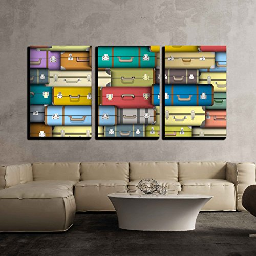 wall26 - 3 Piece Canvas Wall Art - Vector - Background of Colored Suitcases - Modern Home Decor Stretched and Framed Ready to Hang - 24