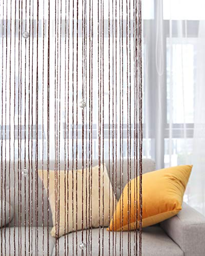 Lewondr Door String Curtain, Glitter Silver Ribbon Fringe Dense Strings with Decorative Beads, Window Blinds Room Divider Beaded Curtain for Doorway Home Party 39x79 Inch(100x200 cm) - Dark Coffee