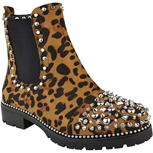 Fashion Thirsty Heelberry? Womens Ladies Spike Studded Chunky Ankle Boots Biker Goth Punk Black Grunge Size Leopard Print Faux Suede