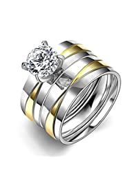 IVYRISE Stainless Steel Cubic Zirconia Wedding Band Anniversary Engagement Ring Bridal Set Couple Rings 2 Pcs A Set Size 6-9 Many Options