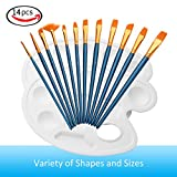 #10: Paint Brushes, Atmoko 12 Pieces Nylon Artist Painting Brush Set with 2 Palettes for Watercolor, Acrylic and Oil Paintings, Perfect for Painting Canvas, Ceramic, Clay, Wood, Models(Kids and Adults)