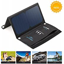 BlitzWolf 15W Solar Charger Portable Dual USB Port for iPhone X 8 Plus 7 6 6s Plus, Samsung Galaxy S8 S7 S6 Edge, Android Powered Foldable Panel Water Resistant High-Efficiency SunPower Charger