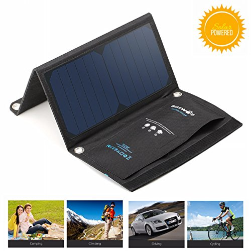 BlitzWolf 15W Solar Charger Portable Dual USB Port for iPhone X 8 Plus 7 6 6s Plus, Samsung Galaxy S8 S7 S6 Edge, Android Powered Foldable Panel Water Resistant High-Efficiency SunPower Charger by BlitzWolf