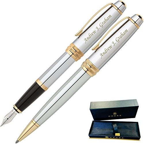(Dayspring Pens | Engraved/Personalized Cross Bailey Medalist Ballpoint and Fountain Gift Pen Set. Custom Engraved Case Included)