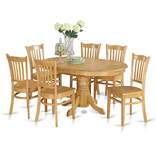 7 Pc formal Dining room set- Oval dinette Table with Leaf and 6 Dining Chairs.