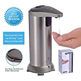 GLAMFIELDS Soap dispenser, Touchless Stainless Steel Automatic Soap Dispenser, IR Infrared Motion Sensor Hand Free Dish Soap for Kitchen and Bathroom, Second Generation Waterproof Base