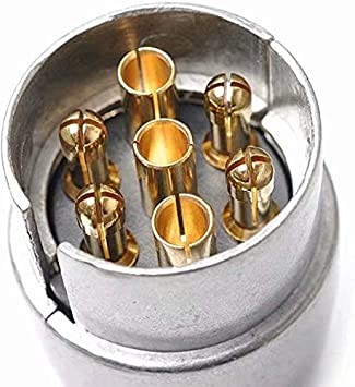 Conector Adaptador de 7 pines Remolque Robusto Pin redondo Conector de 7 polos Cableado 12V Enganche de remolque Enchufe de caravana Cami/ón Tipo N Punta de remolque Aleaci/ón de aluminio