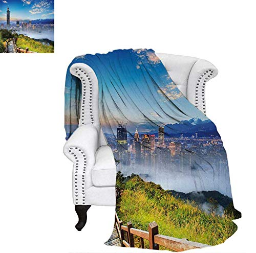 Summer Quilt Comforter Beautiful Scenery of a Cityscape Cosmopolitan Life and Nature with Bridge Print Digital Printing Blanket 50